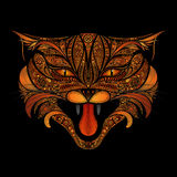 Fire cat vector patterns. On a black background Royalty Free Stock Image