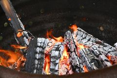 Fire on a cauldron Royalty Free Stock Photo