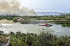 Fire caused by the destruction  humans. Fire caused by the destruction by humans in Spain Stock Photography