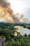 Fire caused by the destruction  humans. Fire caused by the destruction by humans in Spain Royalty Free Stock Photos