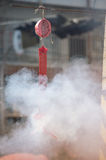 Fire caused by firecrackers at Chinese traditions and Customs. Stock Image