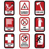 Fire caution signs. Set of fire caution signs stock illustration