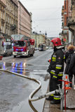 Fire in the center of Krakow, Poland. royalty free stock photo