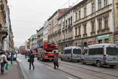 Fire in the center of Krakow, Poland. Royalty Free Stock Image