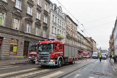 Fire in the center of Krakow, Poland. Royalty Free Stock Images