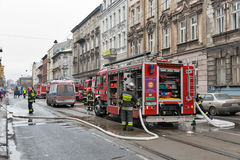 Fire in the center of Krakow, Poland. Royalty Free Stock Photography