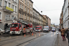 Fire in the center of Krakow, Poland. Stock Photography