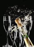 Fire and champagne. Drinks and fireworks for parties like wedding, new year, sylvester, independance days and others Stock Images