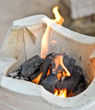 Fire on charcoal stove Royalty Free Stock Photos
