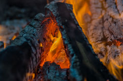 Fire, charcoal, temperature, flame, embers, burning, wood, bonfire, ash, campfire, orange, yellow Stock Image