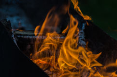 Fire, charcoal, temperature, flame, embers, burning, wood, bonfire, ash, campfire, orange, yellow Royalty Free Stock Image