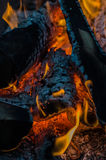 Fire, charcoal, temperature, flame, embers, burning, wood, bonfire, ash, campfire, orange, yellow Royalty Free Stock Photos