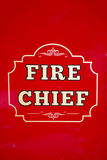 Fire Chief. The words Fire Chief written on the door of an old fire truck Stock Image