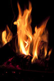 Fire in chimney. Royalty Free Stock Photo