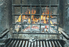 Fire in a chimney Royalty Free Stock Photo