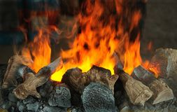 The fire of a chimney stock photography