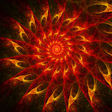 Fire circle. Abstract chaos fire wheel on dark background Stock Photo