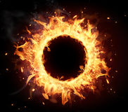 Fire circle. With free space for text. isolated on black background Royalty Free Stock Image