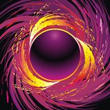 Fire circle. Black background with revolving flame circle and sparks Royalty Free Stock Images