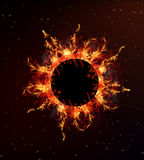 Fire Circle. Background with fire inside the circle, vector art illustration Stock Photos