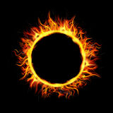 Fire Circle with Black Background Royalty Free Stock Photos
