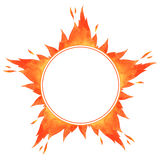 Fire circle frame. Star shape watercolor vector flame border with space for text Stock Image
