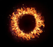 Fire circle isolated on black background Stock Photos
