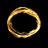 Fire circle isolated on black Royalty Free Stock Photos