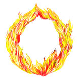 Fire circle. Fire in circle isolated on a white background Stock Photos