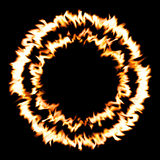 Fire in circle shape / black background. Digital generating image of fire to convey sense of fire, heat, temperature, energy or power Stock Photography