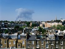 A fire and the city view of London, UK Royalty Free Stock Image