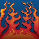 Fire Classic Style Flames on Blue Background Vector Illustration. Hot looking classic flames in bold reds, orange and yellow gradients against a cool soft stock illustration