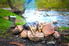 The fire in the clearing near the river. Royalty Free Stock Images