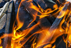 Fire close in fireplace with burning wood, close up Stock Photography