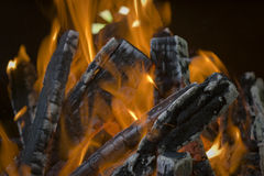 Fire close up. Middle of a wood fire with flames and glowing embers, close up Stock Photography