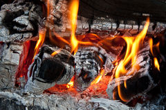 Fire. Close up details of wood burning on fire Royalty Free Stock Photos