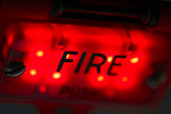 Fire. Close up view on the control panel in the airplane Royalty Free Stock Photos