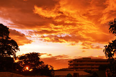 Fire clouds. Photo was taken at the roof top Stock Photos