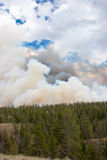 Fire clouds fill the sky at Yellowstone Park Stock Image