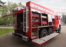 Fire and hoses equipped inside fire engine Royalty Free Stock Image