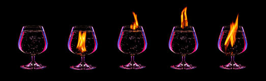 Fire cocktail collection Royalty Free Stock Photos