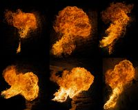 Fire collage. Collage of six forms of flame against a brick wall stock image