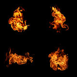 Fire collection on black background Stock Photography