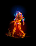 Fire collection, Dancing girl. Background Stock Photo