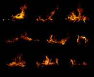 Fire collection. Isolated on black background Stock Image