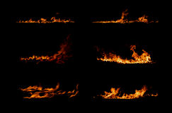 Fire collection. Isolated on black background Royalty Free Stock Images
