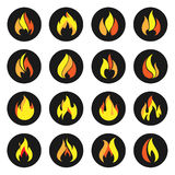 Fire color Icons on black circle. Stock Photography