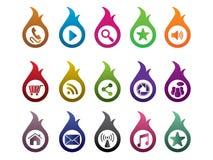 Fire colorful icon set. Social media Stock Photos