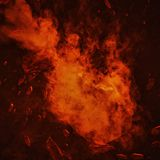 Fire comet in space with meteor storm. Powerful star moving. Concept art stock photography