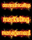 Fire Text Communication Marketing Management. Fire communication marketing management word badges with burning flames Stock Images